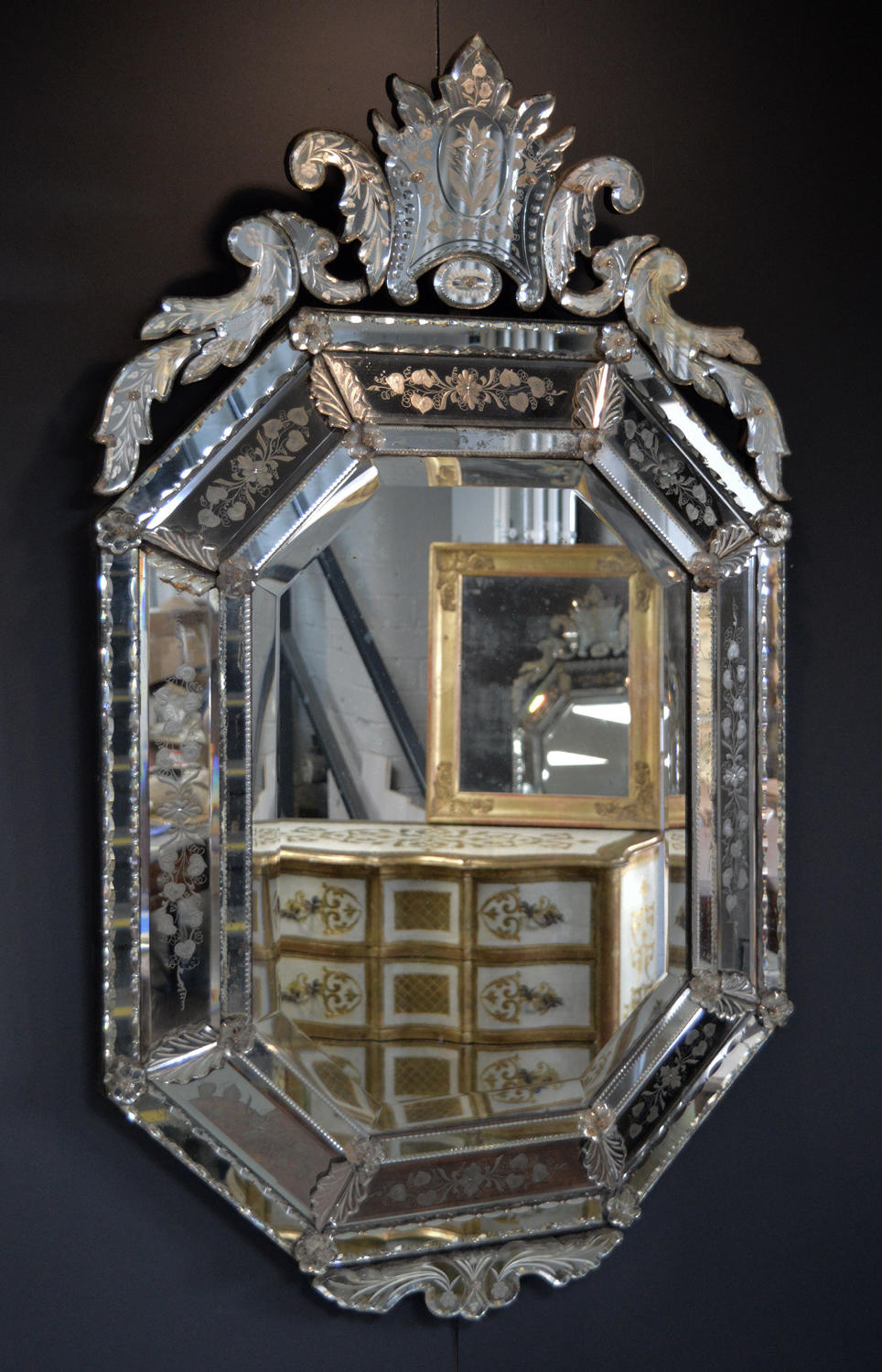 Large 19thC Venetian reverse etched cushion mirror