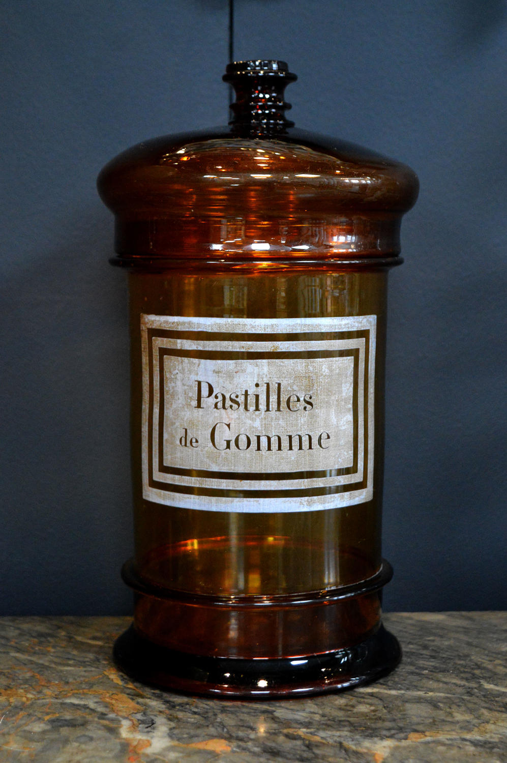 Mid 19th century French amber glass apothecary jar