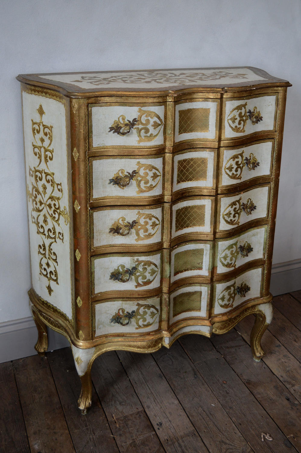 Venetian painted and gilt tall 5 drawer Commode