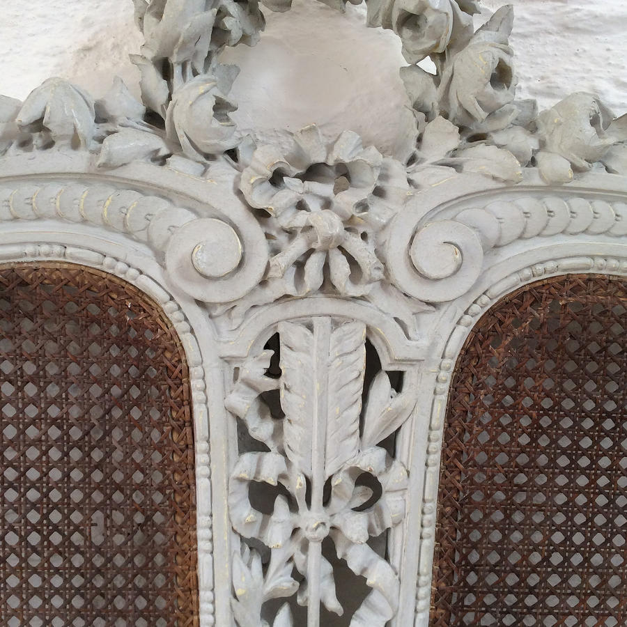 King Size 19th Century Louis XVI cane bedstead