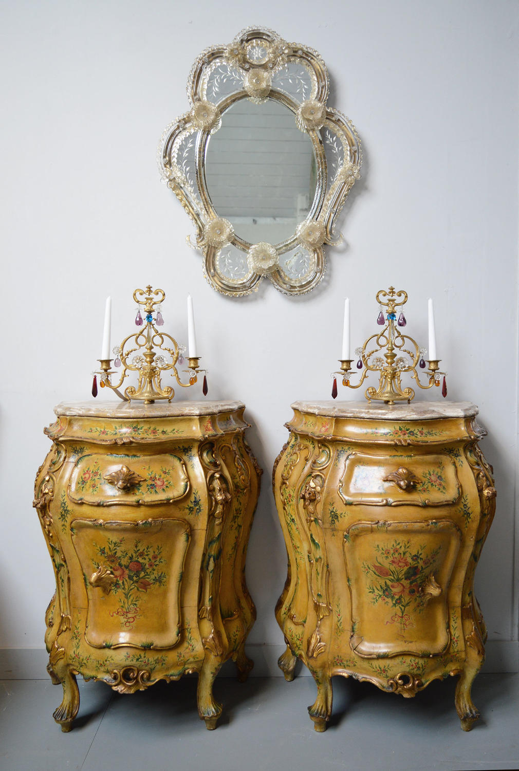 Pair of Hand painted Late 19th Century Venetian bedside cabinets