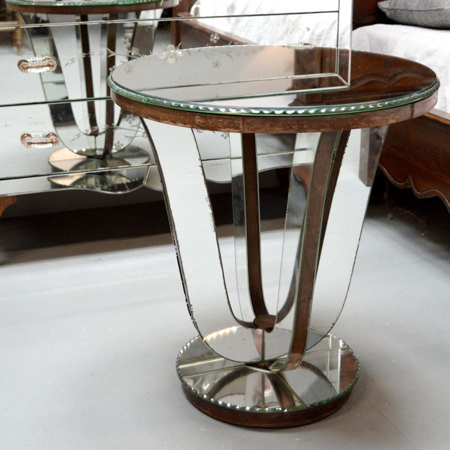 Original Art Deco Mirrored Lamp Table