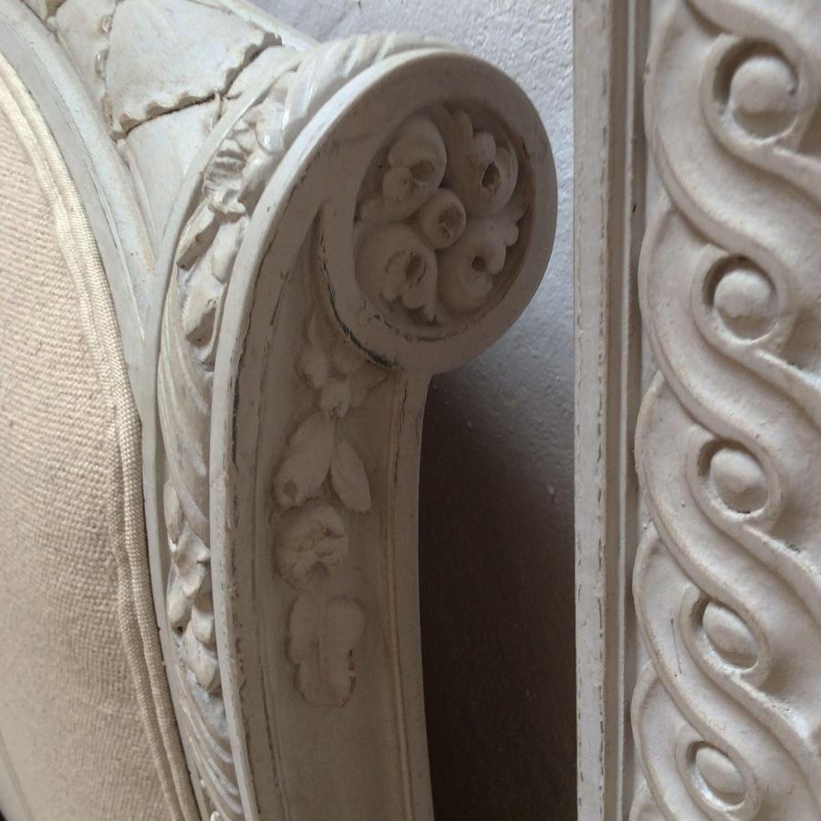 19th Century King size Upholstered Louis XVI Lit Bateau