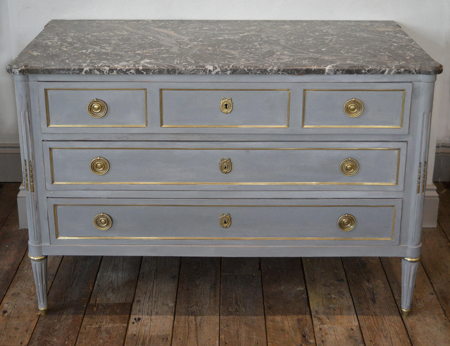Late 19th Century Louis XVI style marble top commode