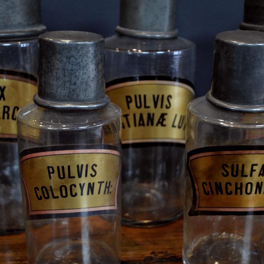 Set of six 19th Century Apothecary Jars