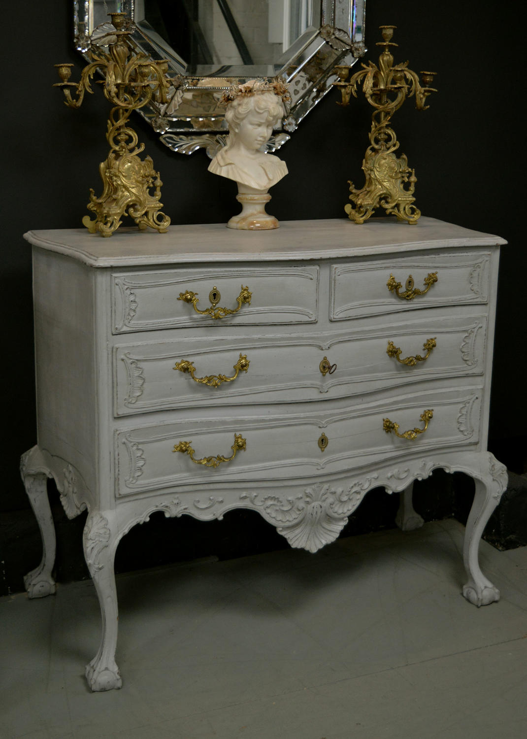 18th Century Flemish Hand Carved Oak Commode