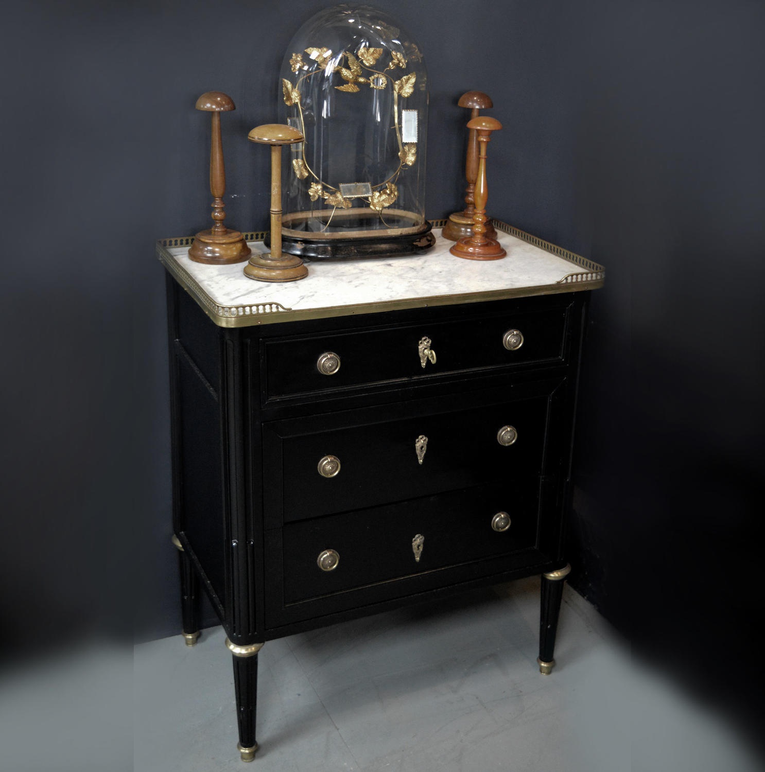 Small Louis XVI style marble top commode c1890-1900