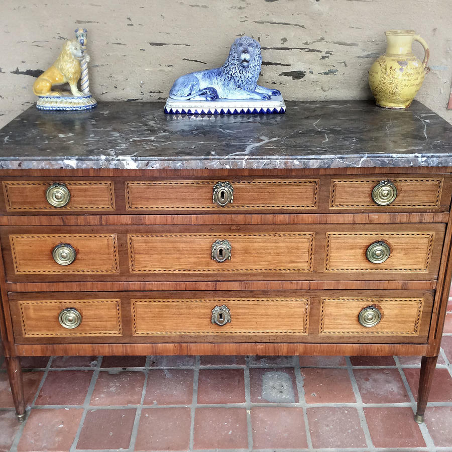 Late 18th Century Directoire marquetry, marble top commode