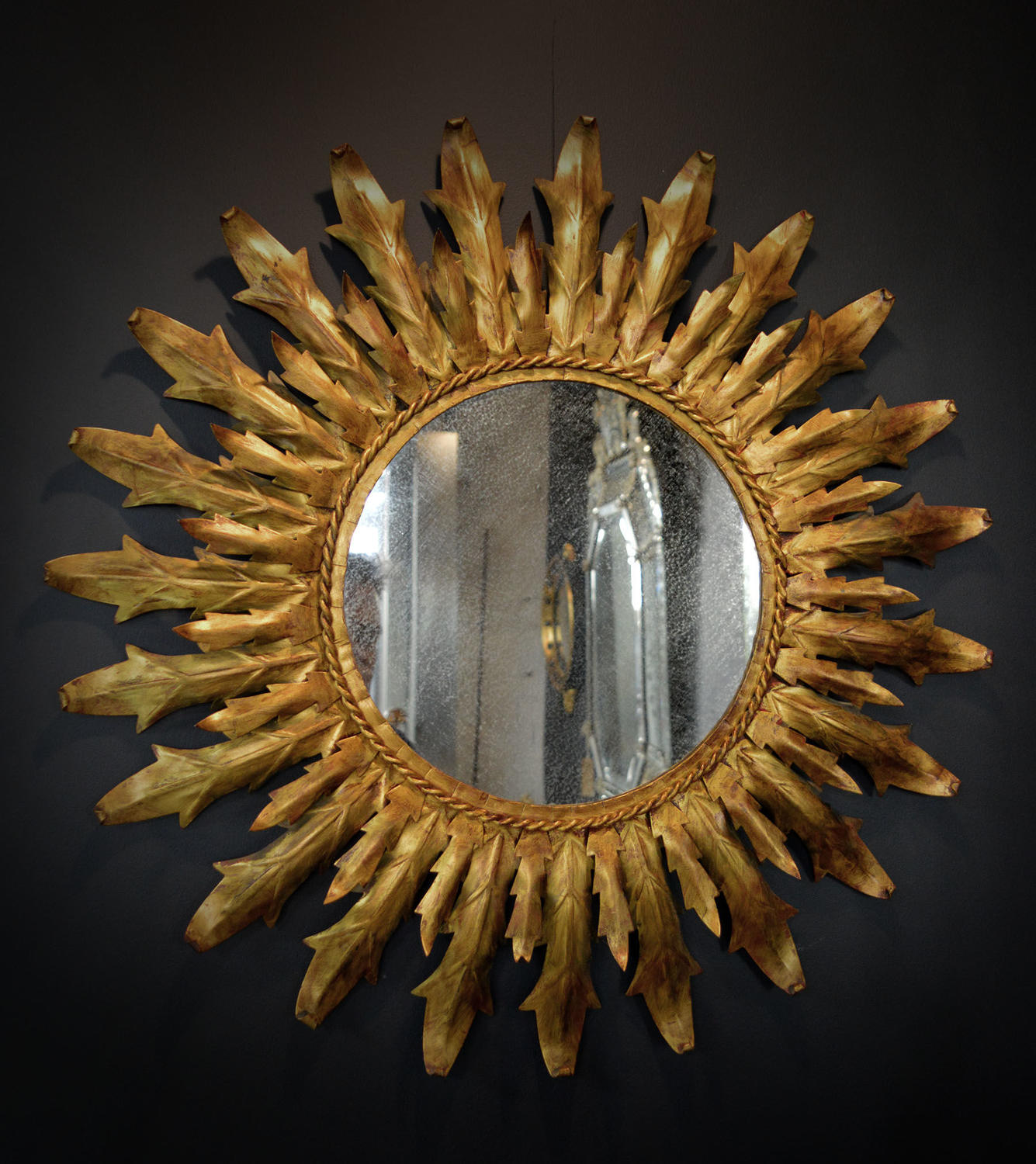 Vintage Spanish Sunburst gilt metal frame mirror