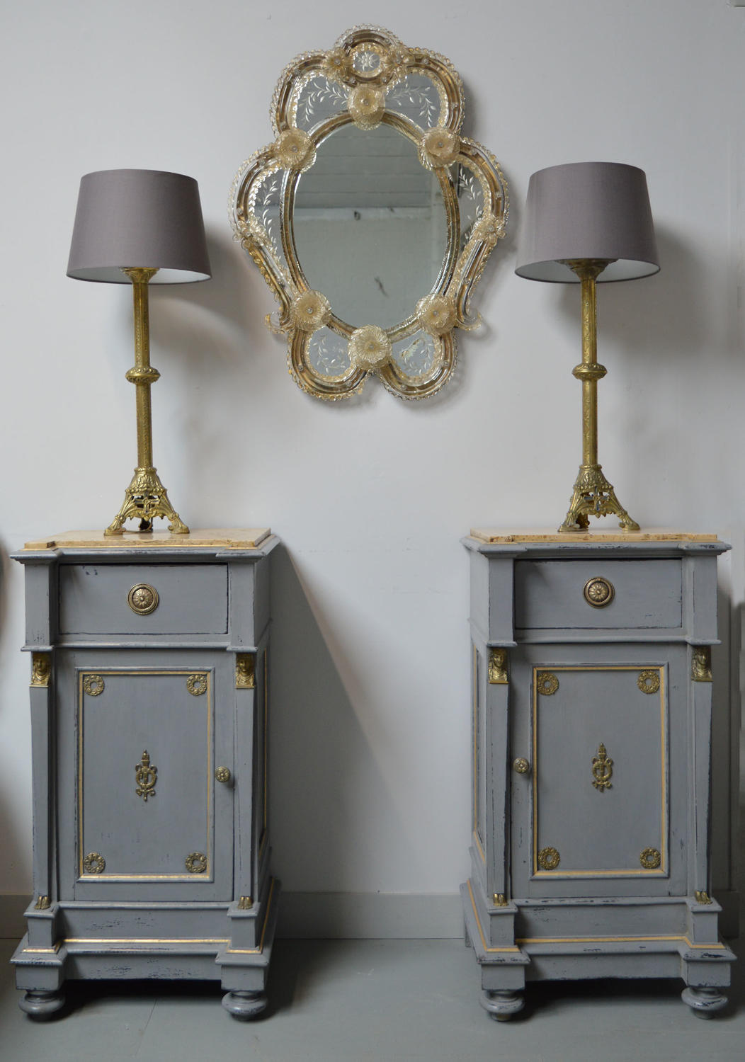 Pair of Empire Italian Bedside Cabinets c1900