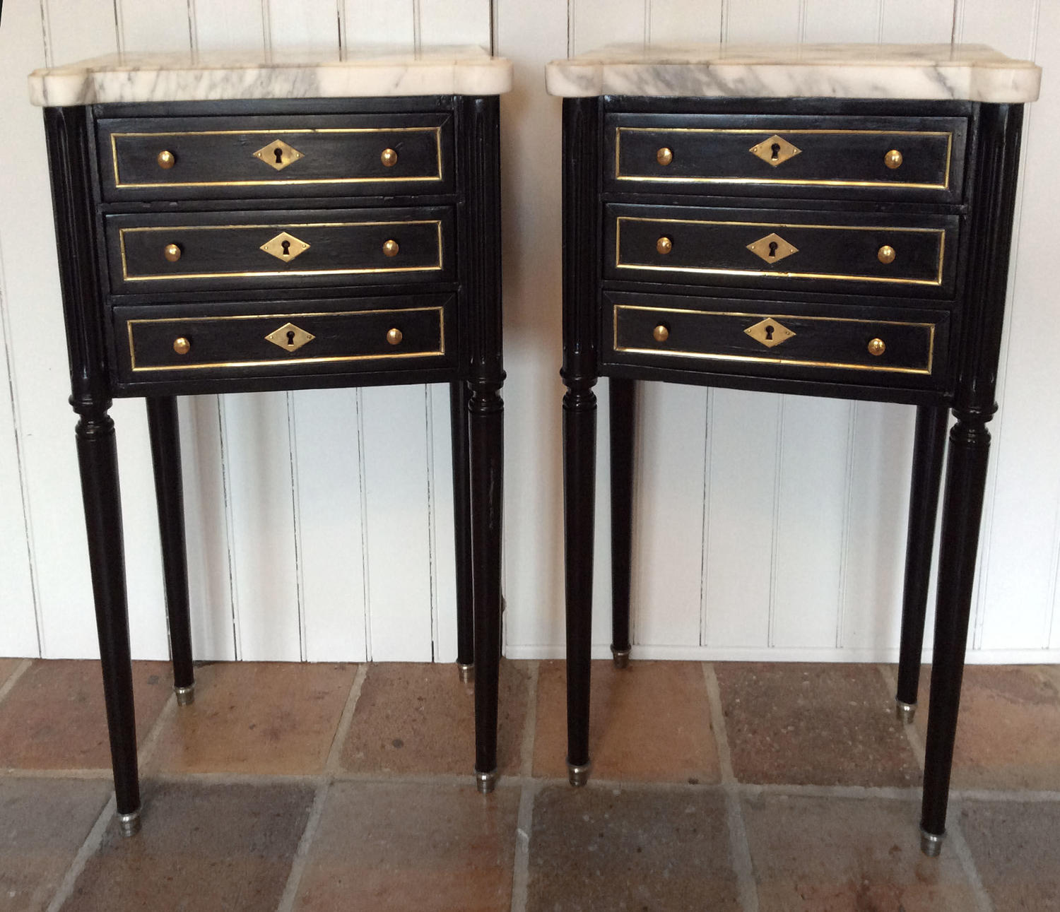 Pair of Louis XVI style Bedside cabinets