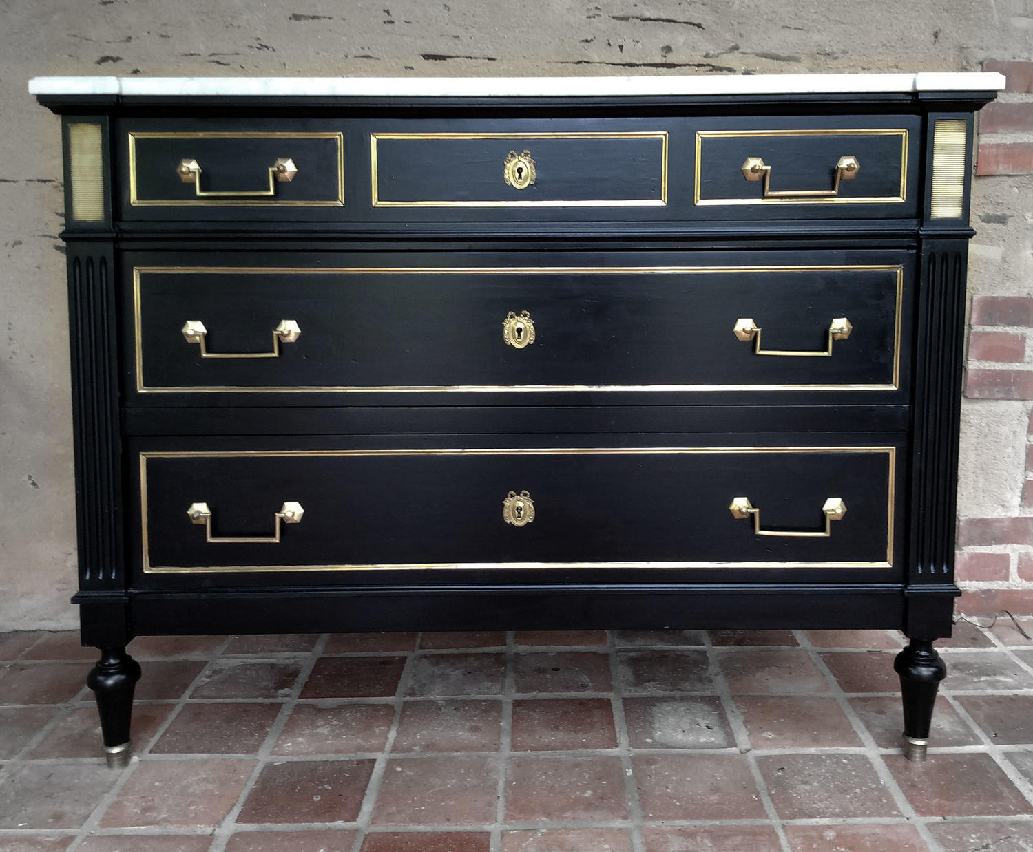 Louis XVI style marble top black commode