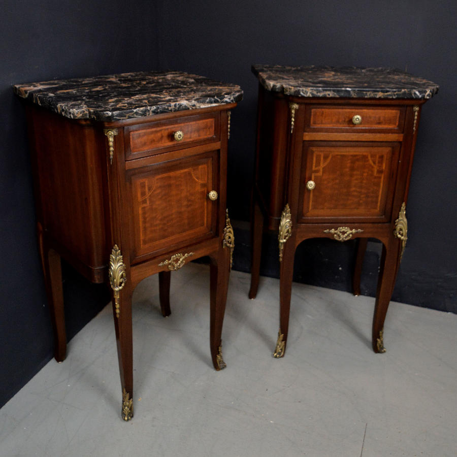 Pair of Mahogany Louis XVI style Bedside Cabinets