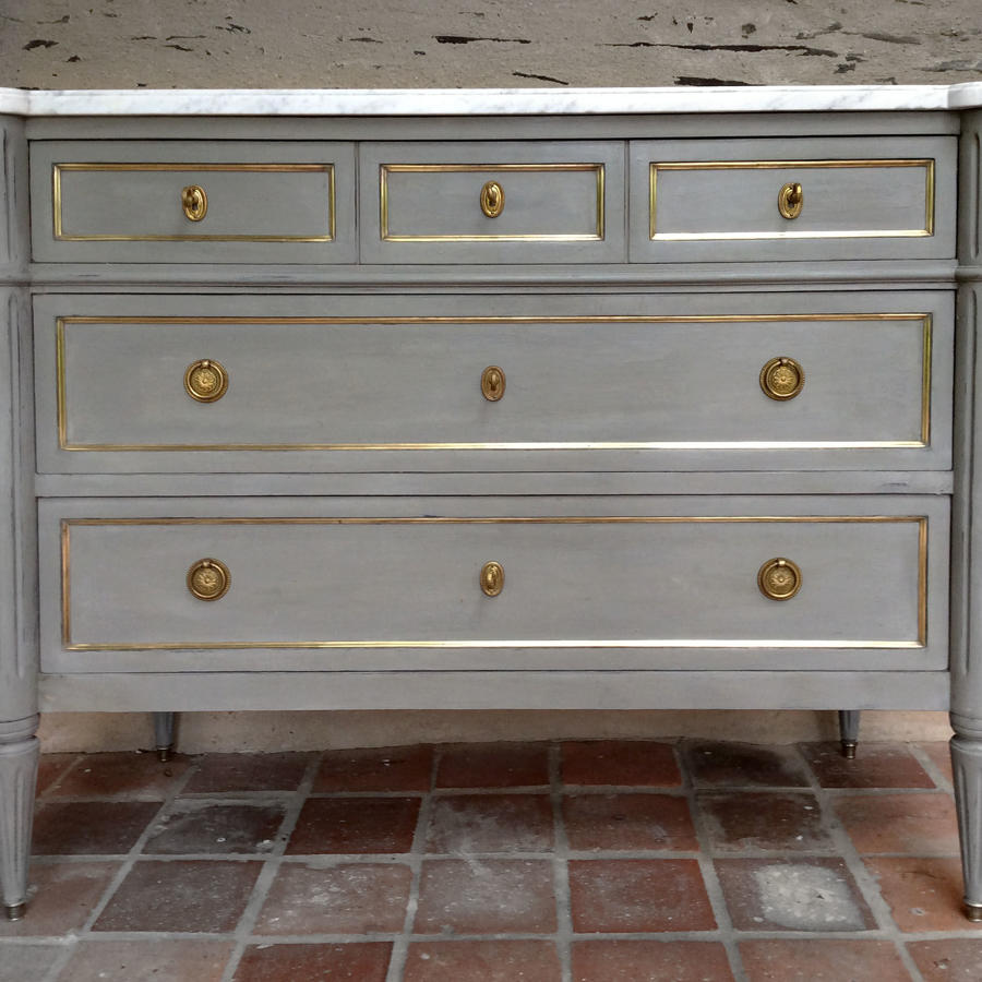 Louis XVI style painted marble top commode