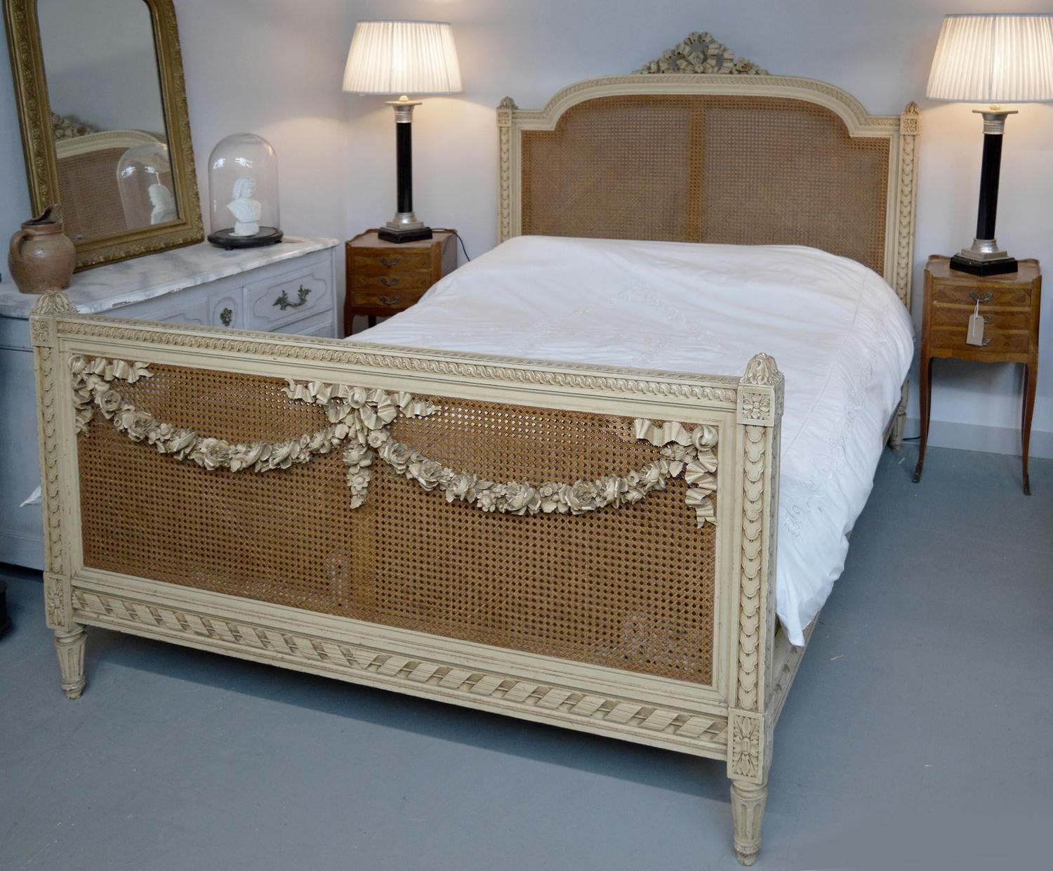 King Size Louis XVI style caned bedstead