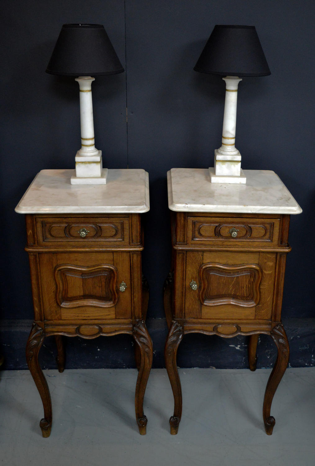 Pair of Oak Louis XV style Bedside Cabinets c1900