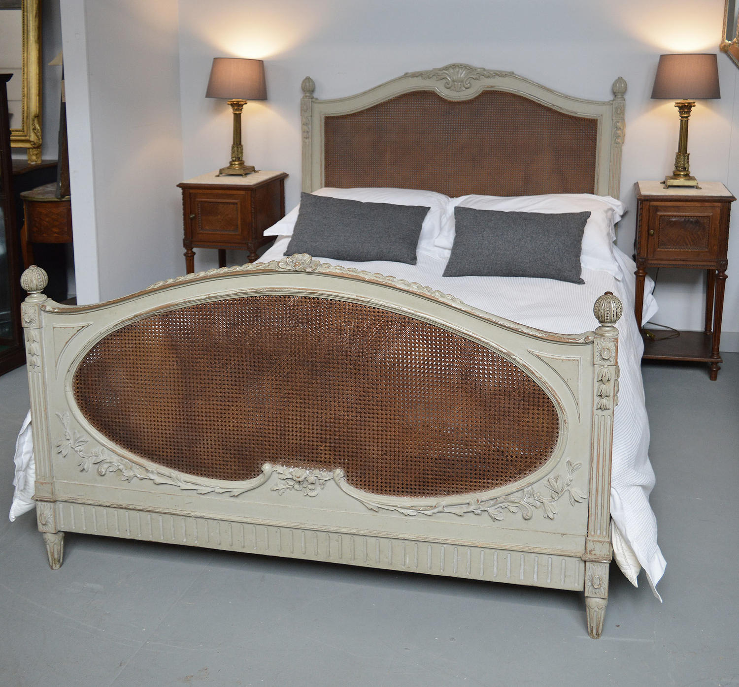King size Louis XVI style cane bedstead c1900