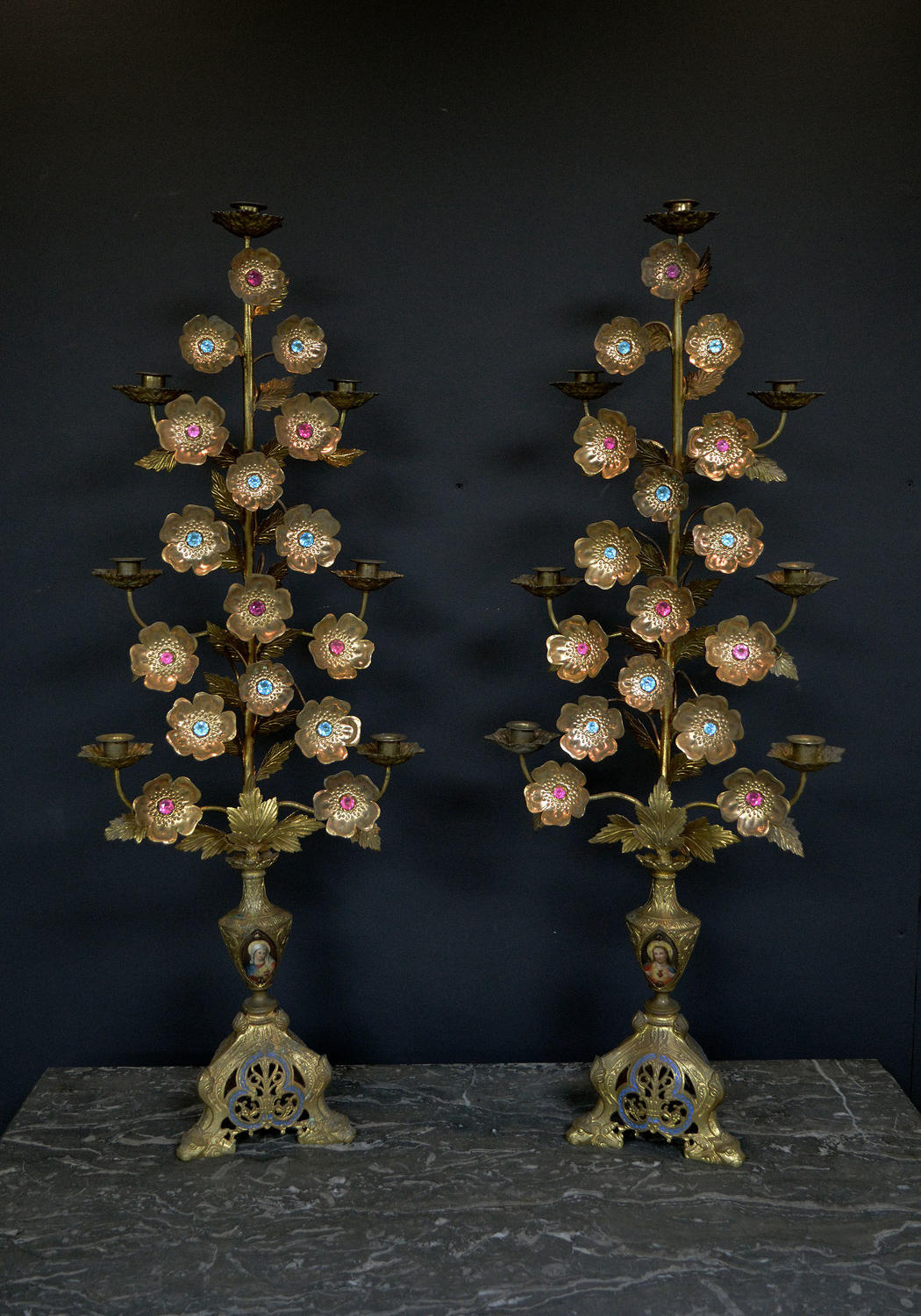 Large Pair of 19th Century Ecclesiastical Gilt Bronze Candlesticks