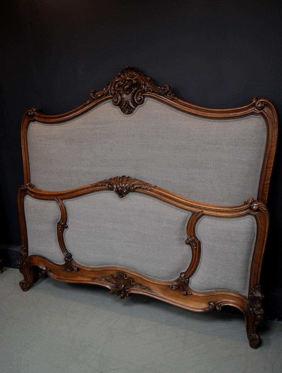 Large 19th Century Napoleon III Walnut Bedstead
