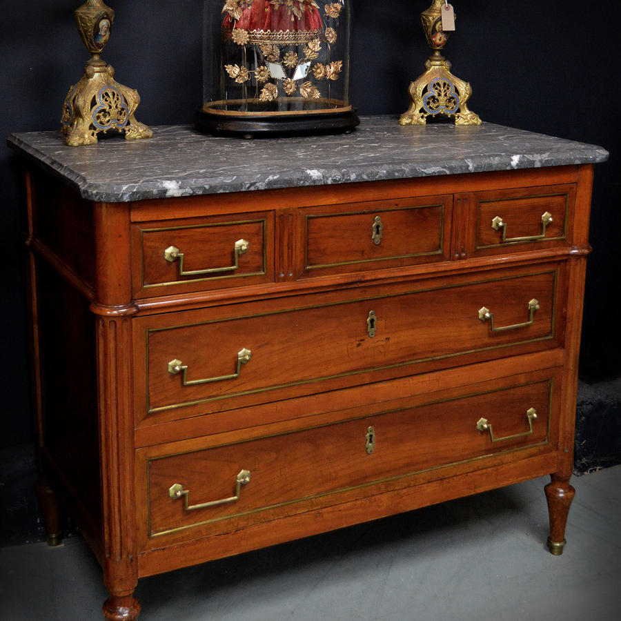 Small Late 18th Century Directoire Solid Cherry Marble top Commode