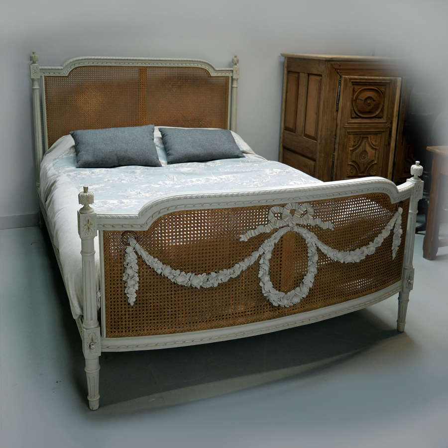 19th Century King Size Louis XVI style caned bedstead