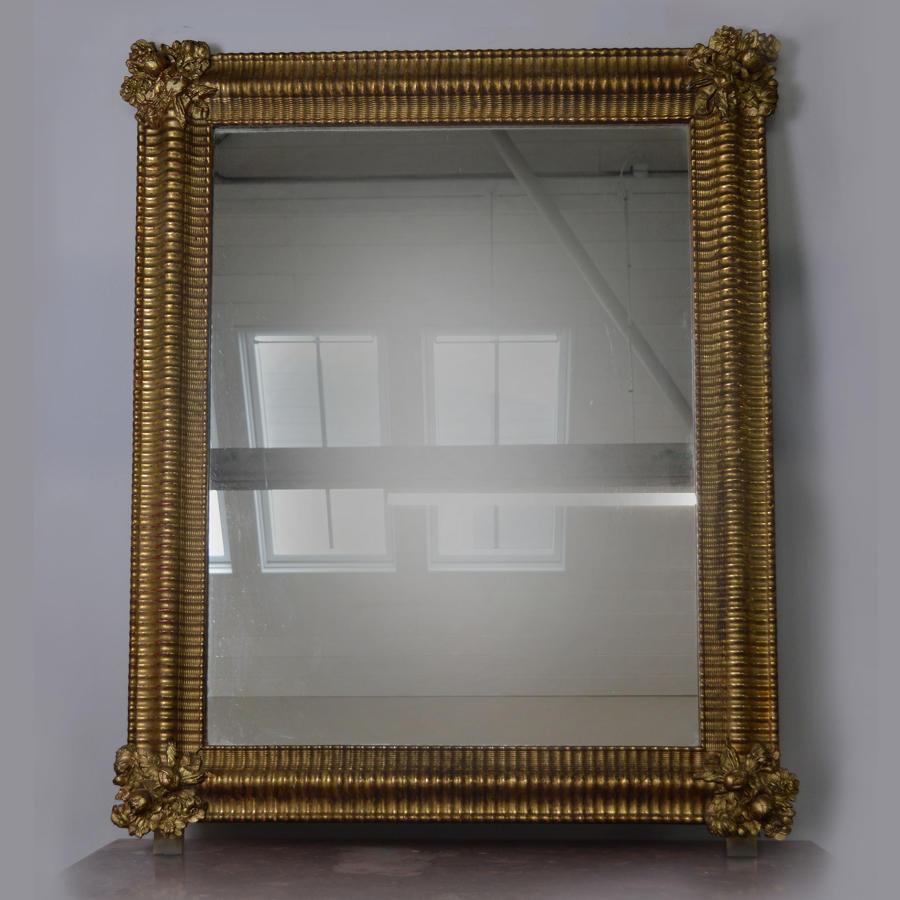 Mid 19th century Louis Philippe ripple frame gilt mirror