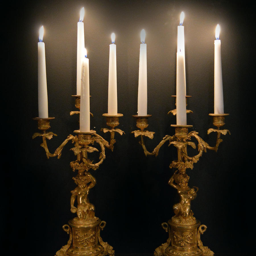 Pair of 19th Century Louis XVI style Gilt bronze Candelabra