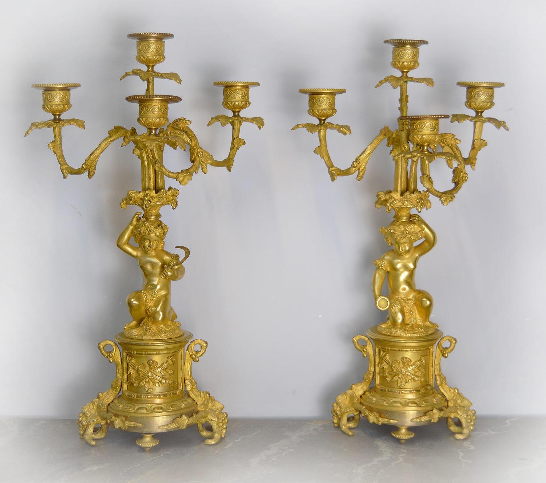 Pair of 19th Century Louis XVI style Gilt bronze Candelabra