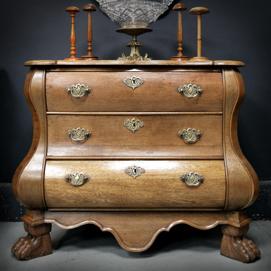Late 18th Century Dutch Oak Bombe Commode