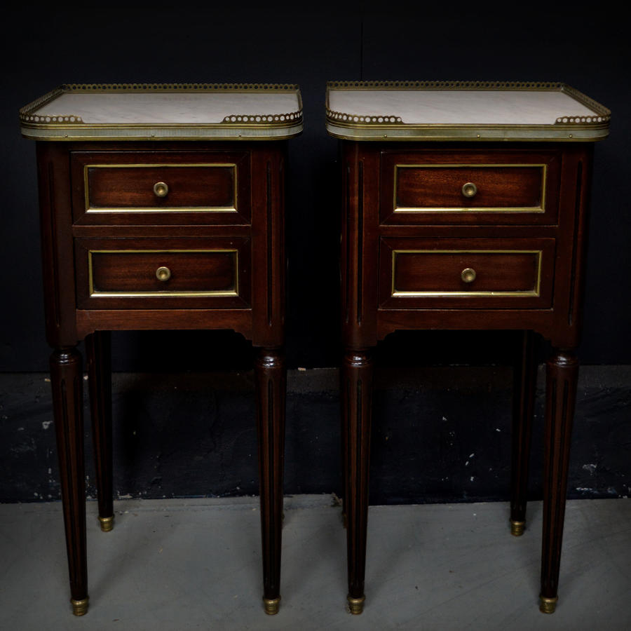Small pair of mahogany Louis XVI style bedsides