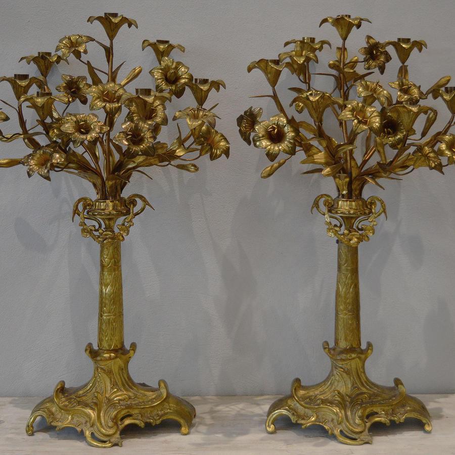 Large Pair of 19th Century Gilt Bronze Candelabra