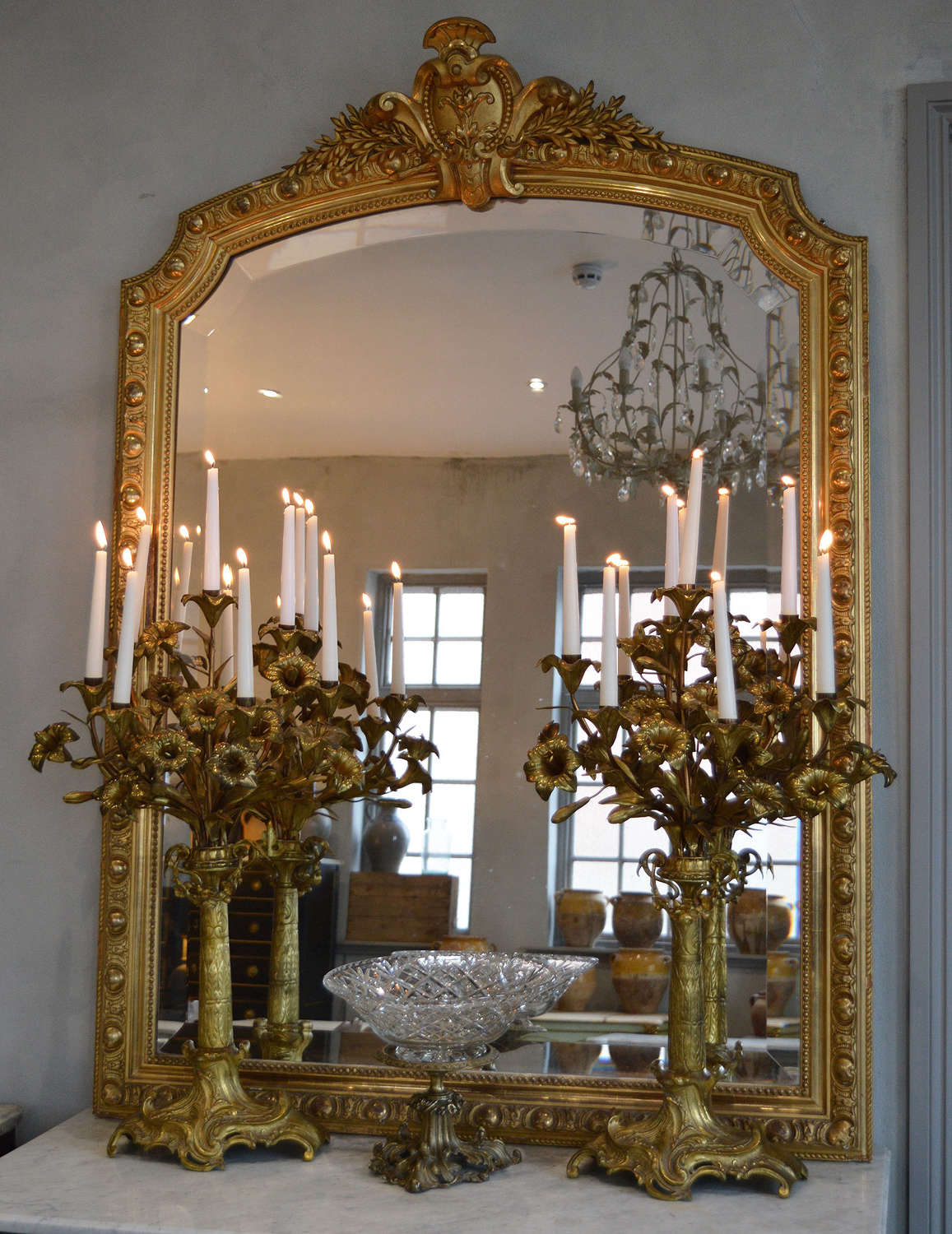 Large Pair of 19th Century Gilt Bronze Candelabra