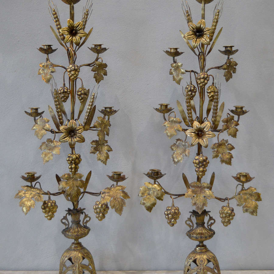 Large Pair of 19th Century Church Harvest Candelabra