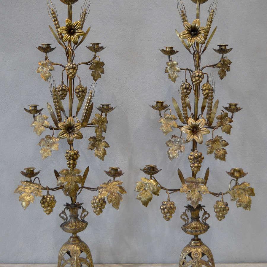 Large Pair of 19th Century Church Harvest Candelabra