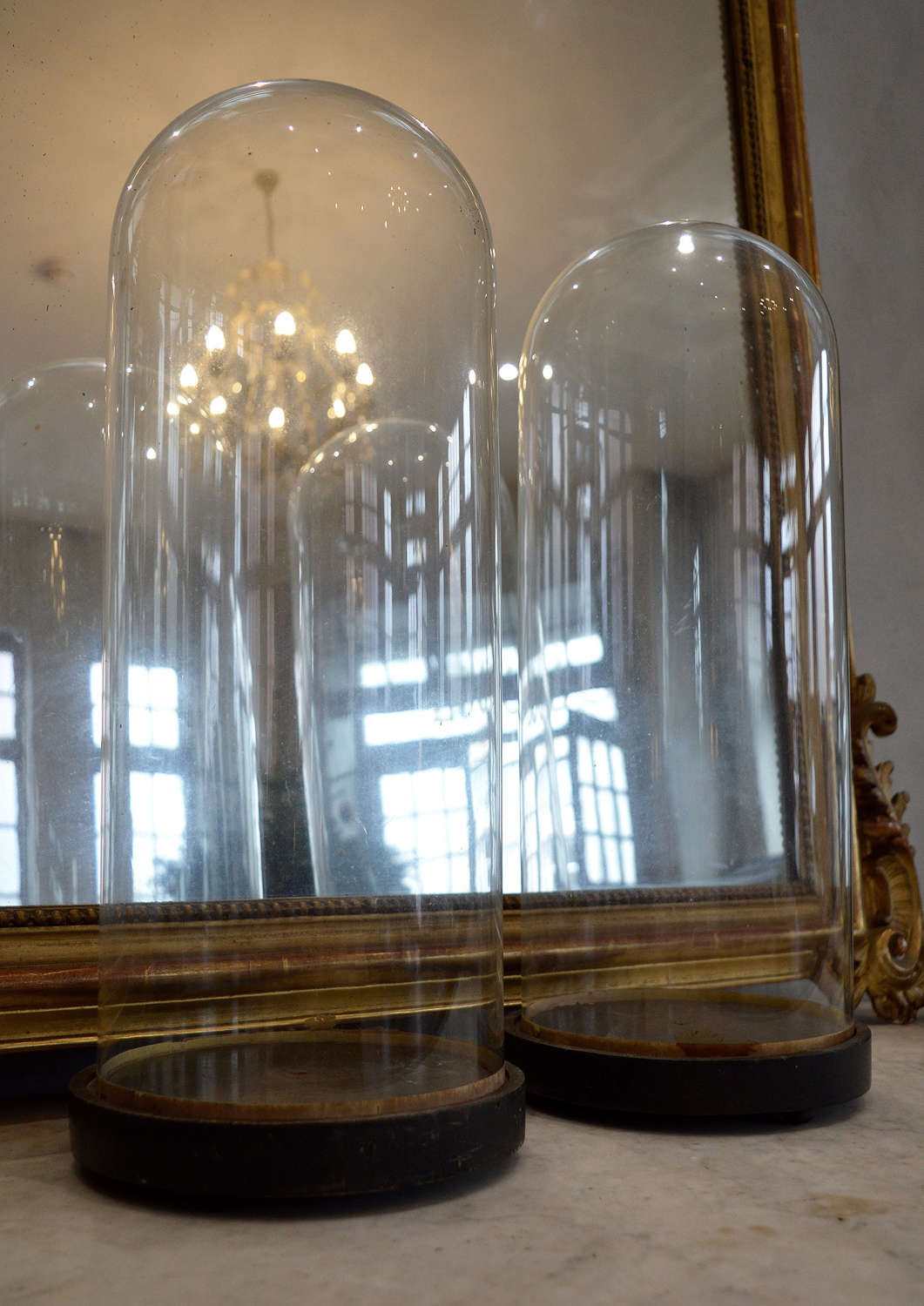 Pair of 19th Century Tall Glass Domes