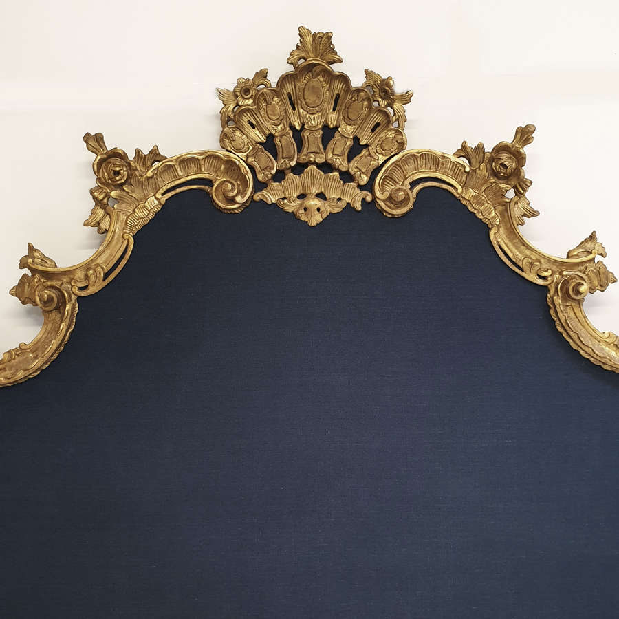 Super-king size Venetian Gilt-wood & Linen headboard