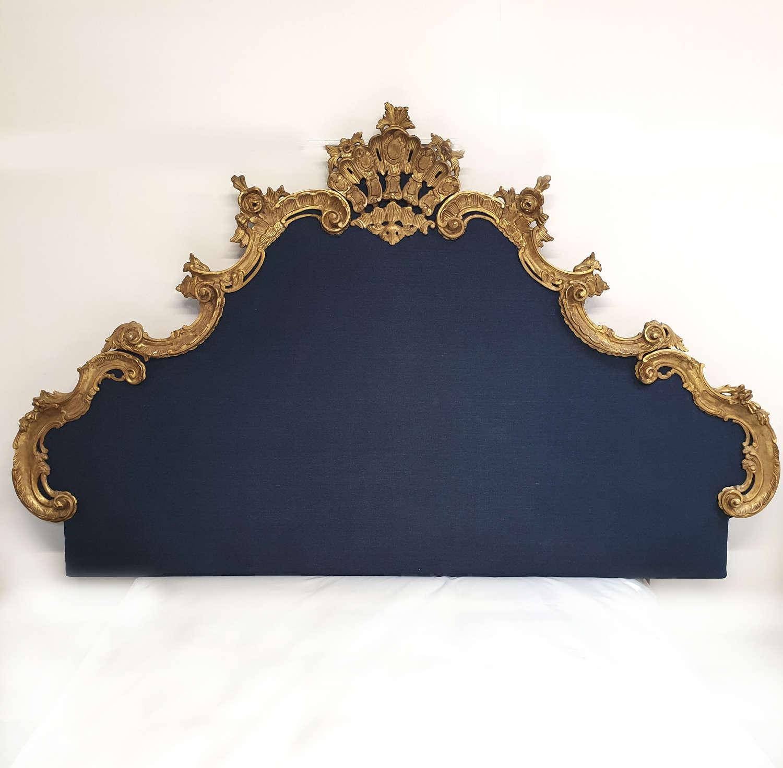 Super-king size Venetian Gilt-wood & Linen headboard