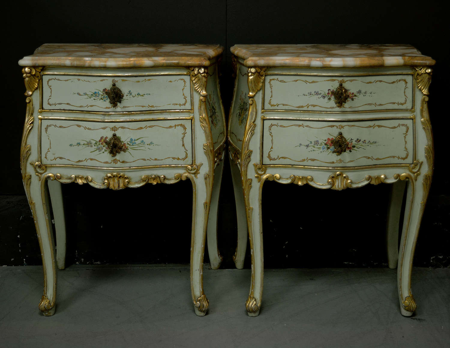 Pair of Venetian Hand Painted Bedsides