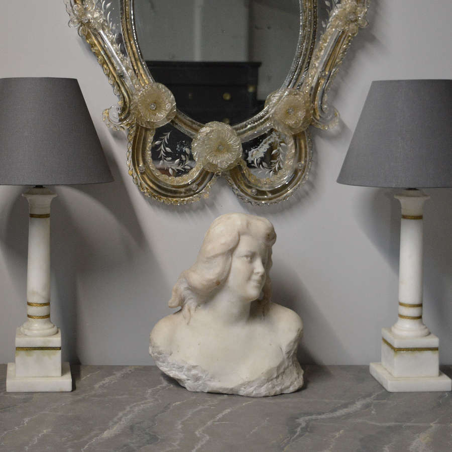 Pair of Carrara Marble Column Lamps