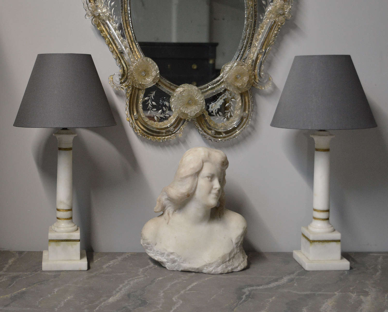 Pair of Carrara Marble Column Lamps