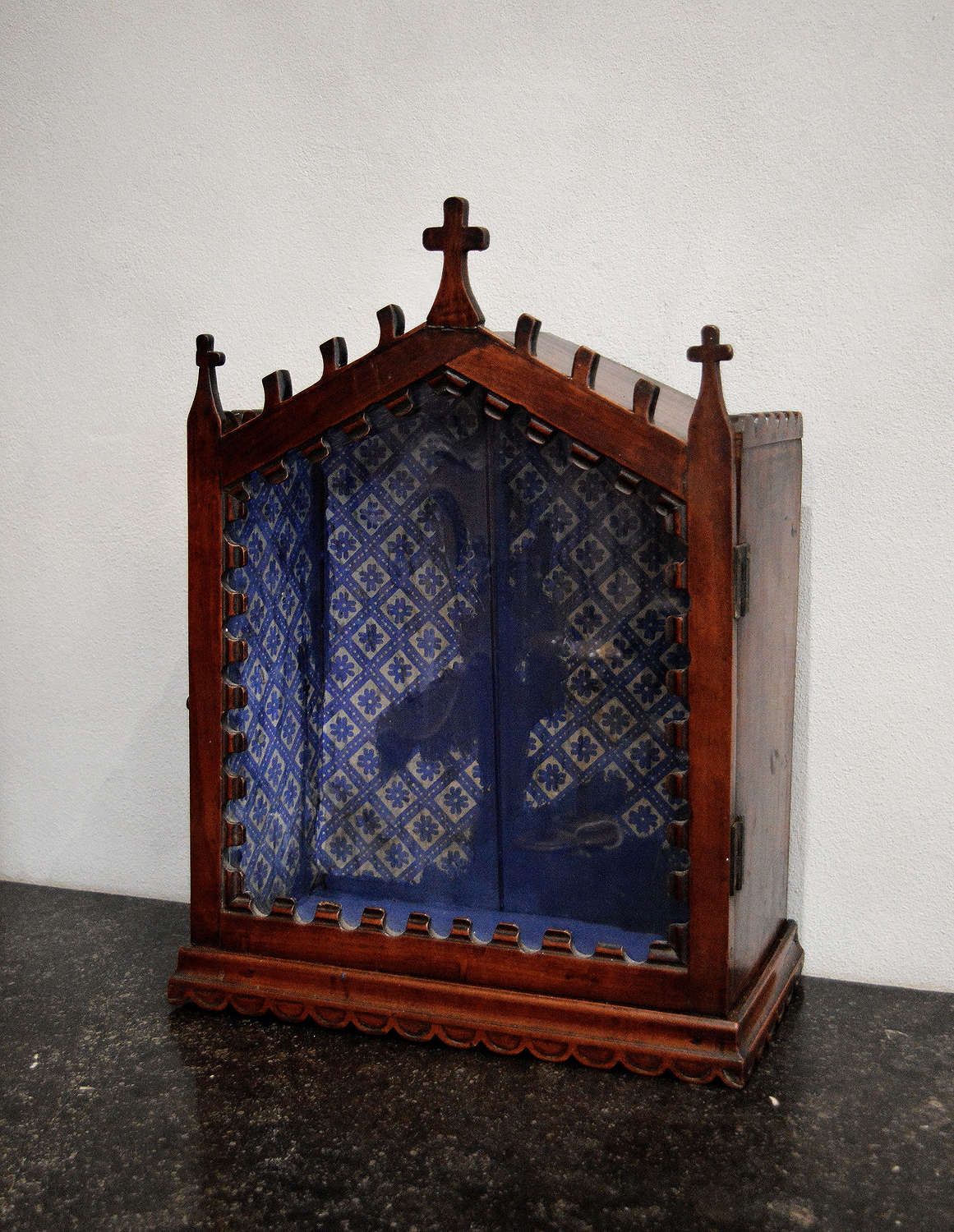19th Century Cherry hand carved Church Reliquary Cabinet