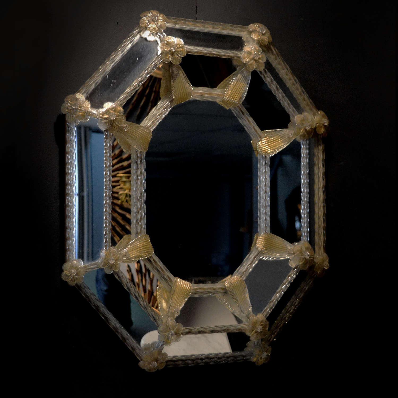 Small Venetian octagonal cushion mirror c1930s