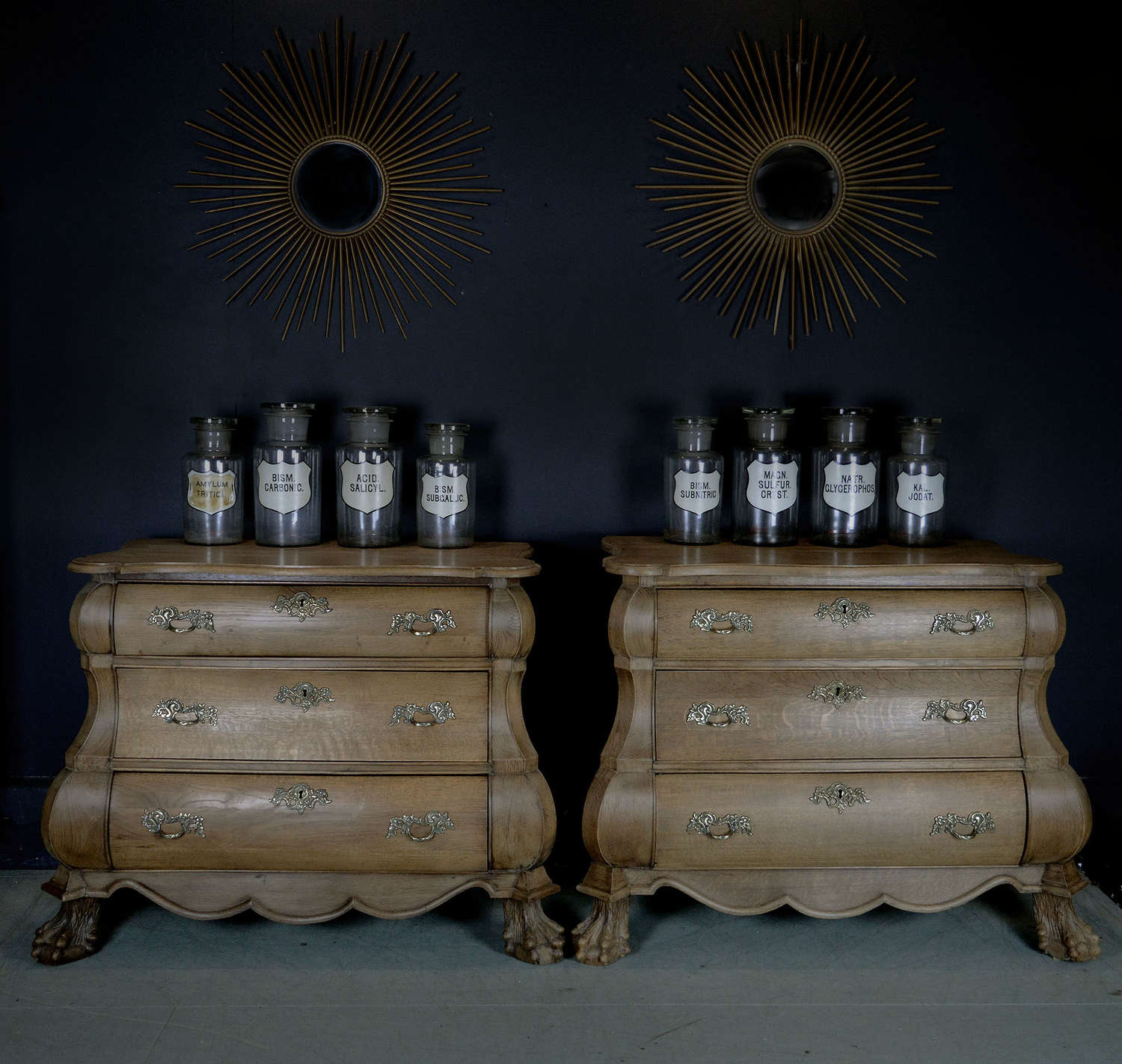 19th Century Pair of Pale Oak Dutch Bombe Commodes