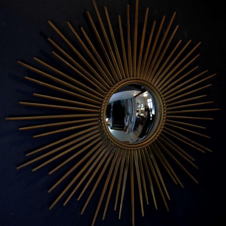 Mid Century Sun Burst Convex Mirror