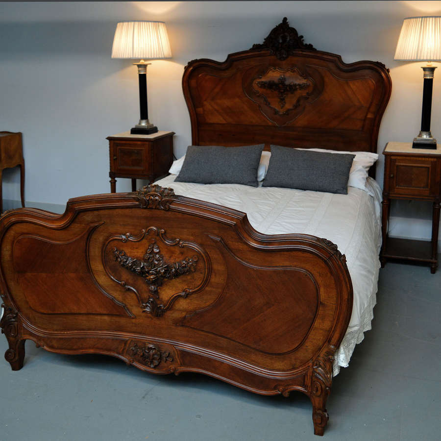 19th Century Louis XV style walnut Double bed