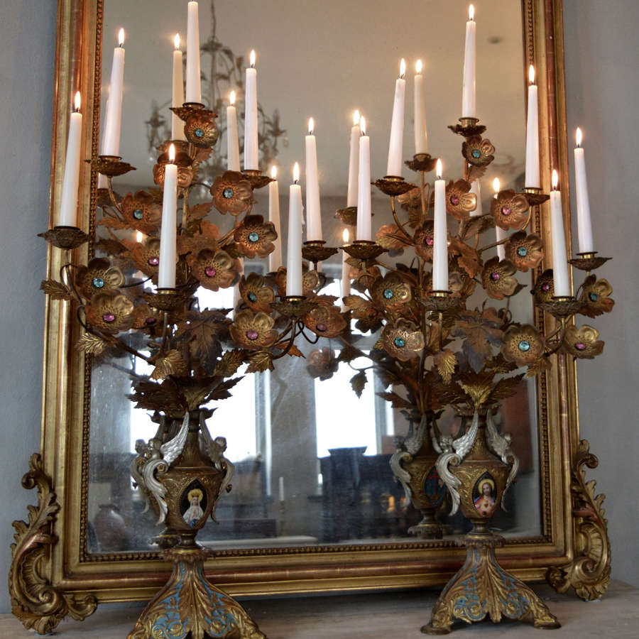 Large pair of 19thC Gilt Bronze Ecclesiastical Candelabra