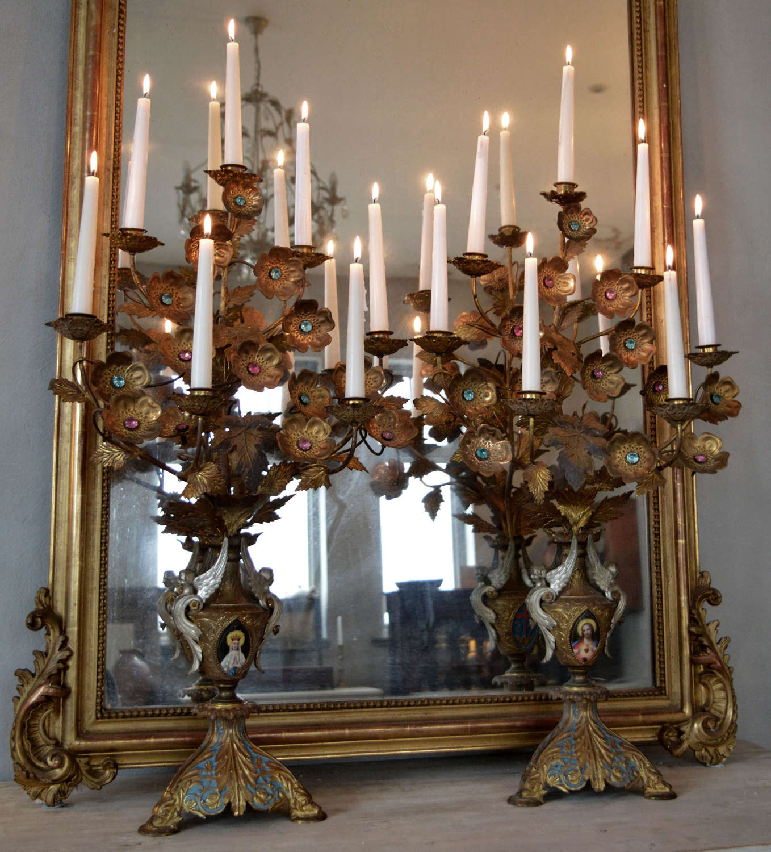 Large pair of 19thC Gilt Bronze Ecclesiastical Candelabra