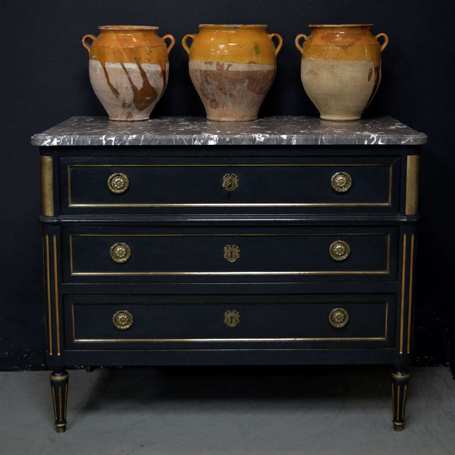 19th Century Louis XVI style 3 drawer commode