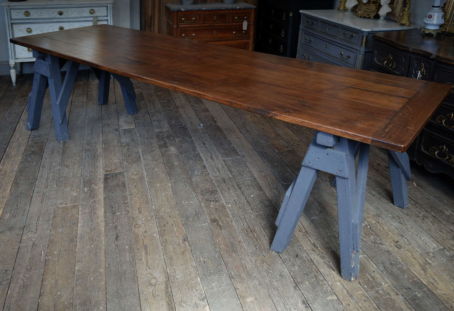 Large Oak Shipwrights trestle table
