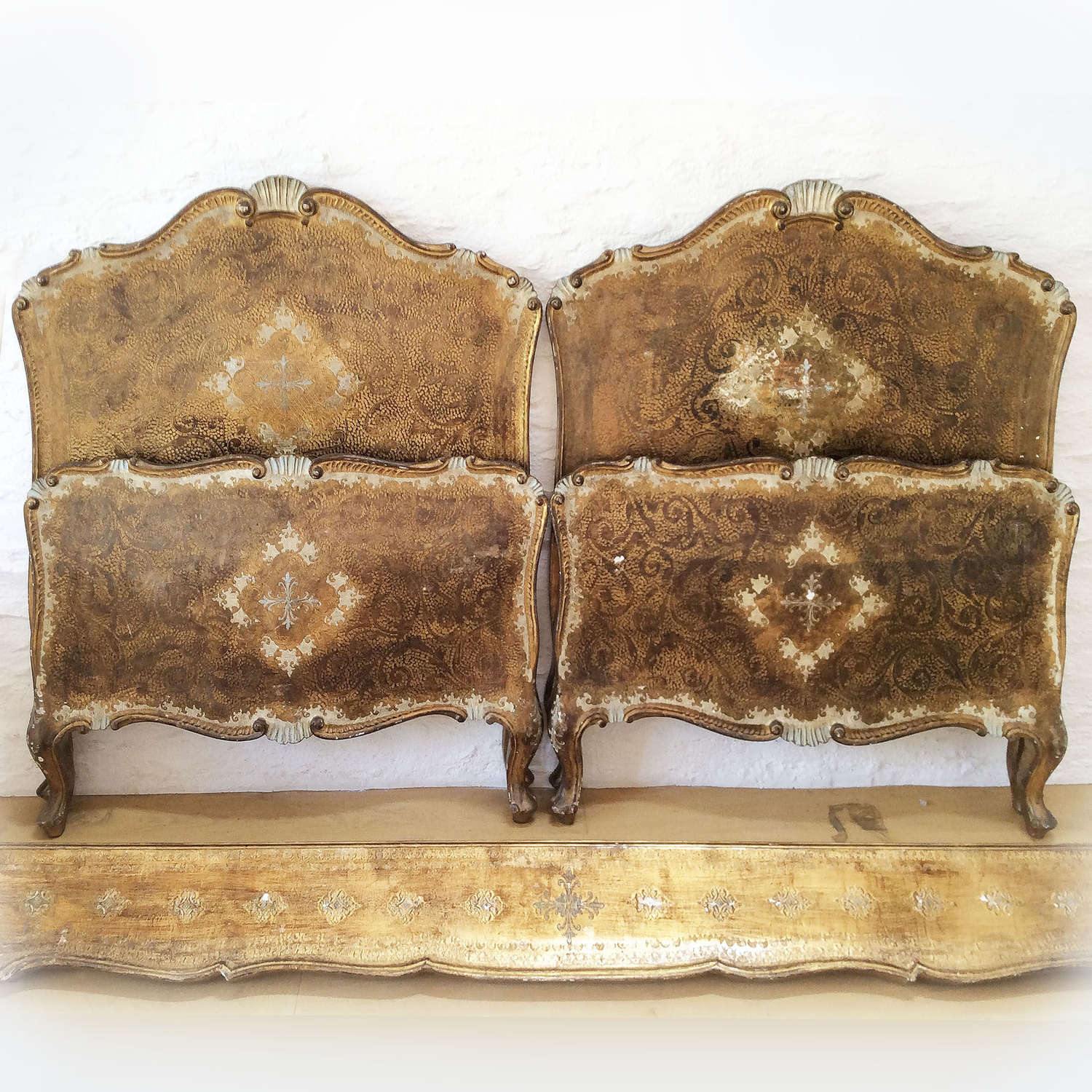 Pair of Gilt Venetian Single beds Early to mid 20th